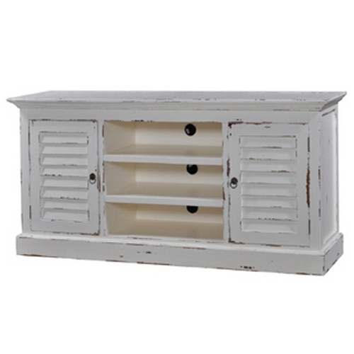Hamptons Shutter TV Stand - Architectural White Heavy Distressed