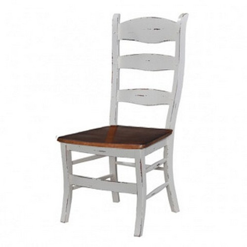 Peg & Dowel Ladder Back w/ wooden seat - White Heavy Distressed /ATO