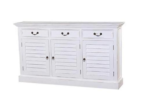 Narrow Shutter 3 Door Drawer Sideboard - Architectural White, Light Distress