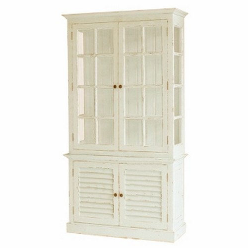 Hamptons 2DR  Display Cabinet with Glass - Architectural White Light Distressed