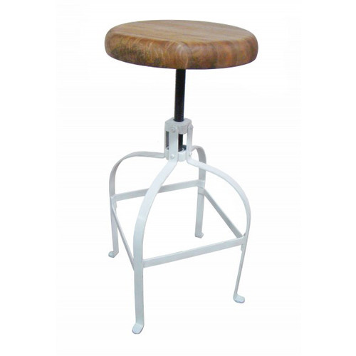 Industrial Screw Barstool - White
