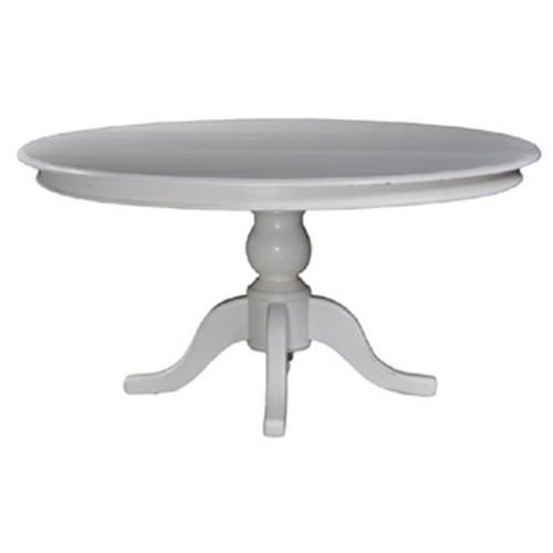 Farmhouse Round Dining Table 150cm - White Light Distressed