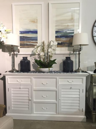 Shutter Sideboard w/ 5 Drawers - Architectural White, Light Distress