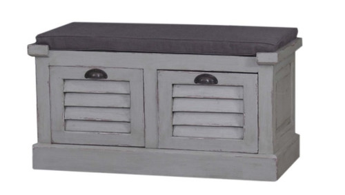 Hamptons Shutter Bench - Architectural White Light Distressed