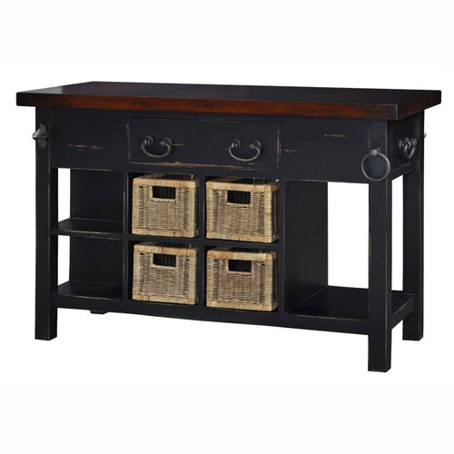 Umbria Kitchen Island small - Black Heavy Distressed /AHM