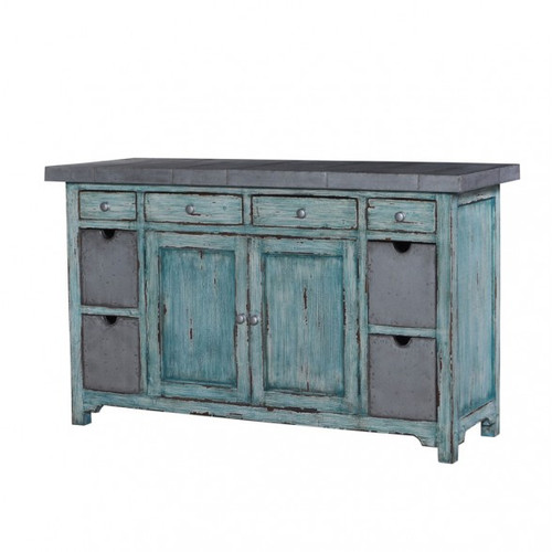 Tin Smith Kitchen Organizer - Sea Mist Teal /TAN