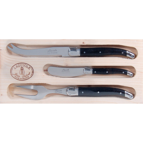 Laguiole Jean Dubost 3 Piece Cheese with Fork - Black