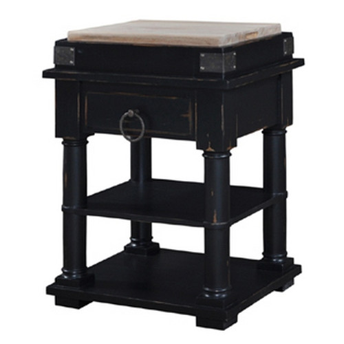 Cortland Kitchen Island on Coasters - Black Heavy Distressed /RAW