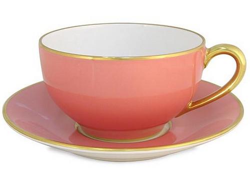 Limoges Legle Breakfast Cup & Saucer - Old Rose