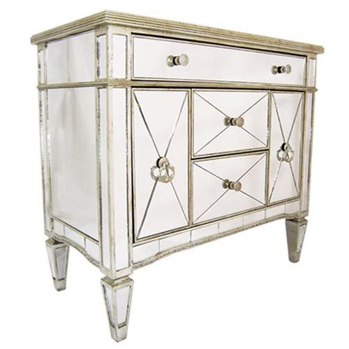 Antique Mirrored Buffet Medium - Size: 87H x 92W x 48D (cm)