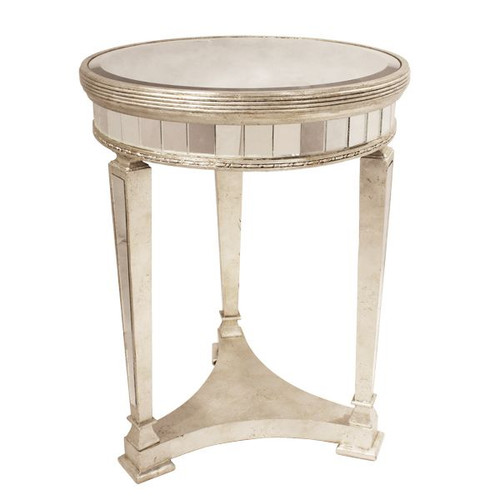 Antique Mirrored Round Table w/Base