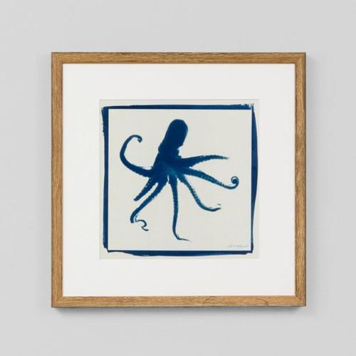 Framed Print: Cyan Octopus
