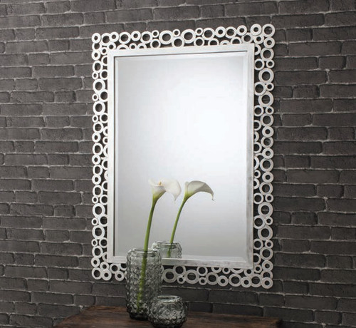 "Amalfi Rectangle Mirror Silver 44x32"" Gallery Direct"