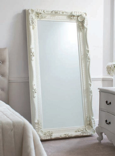 Carved Louis Leaner Mirror Cream 69x35.5""