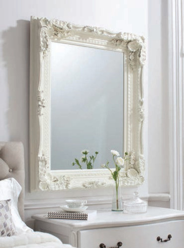 Carved Louis Mirror Cream 47x35.5""