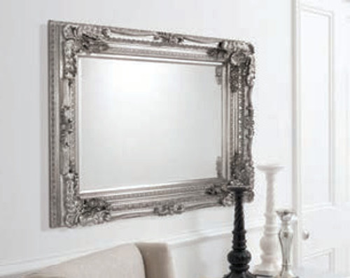 """Carved Louis Mirror Silver 47x35.5"""""""