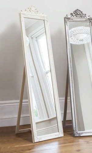 "Lambeth Wood Cheval Mirror White 71x18"""" Gallery Direct"""""