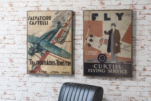 """Vintage Travel Wood Plaques 28x21"""" (s/2) Gallery Direct"""