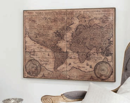 "Vintage World Map 35x26"" Gallery Direct"