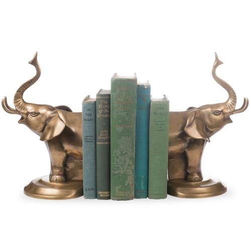 Elephant Brass Bookends