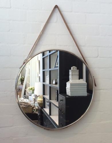 Round Mirror Nickel/Leather 61cm