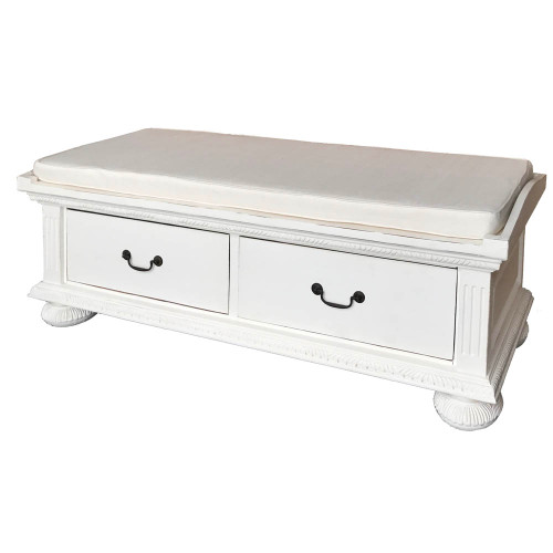 Charleston Bench  - White Light Distressed