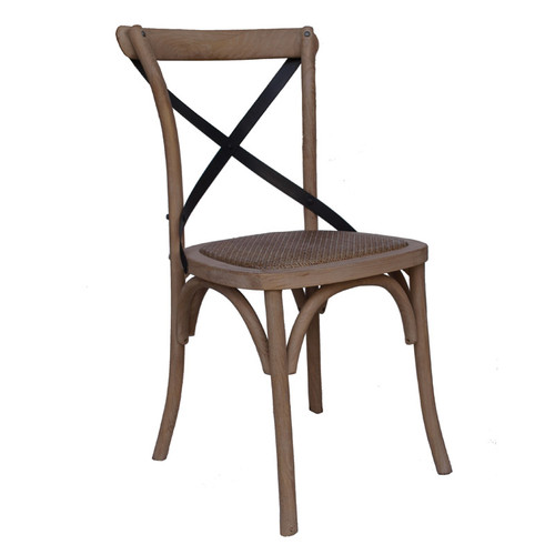Brooklyn Steel Cross Dining Chair - Weathered Ash