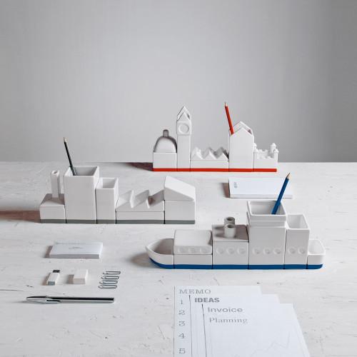 Porcelain Desk Organiser - City