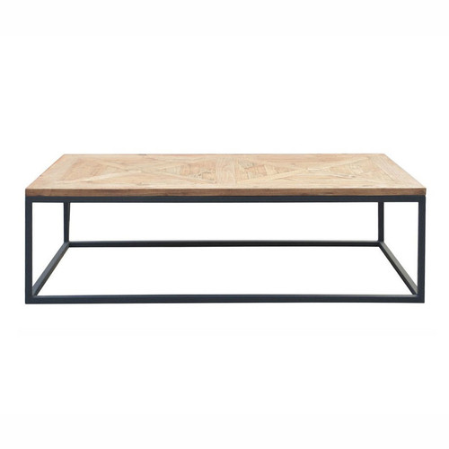 Metal Parquet Coffee Table - Reclaimed Wood