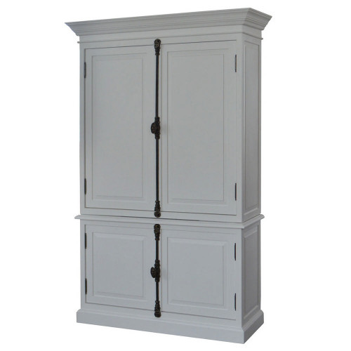 French Panel Double-Door Closed Cabinet - White