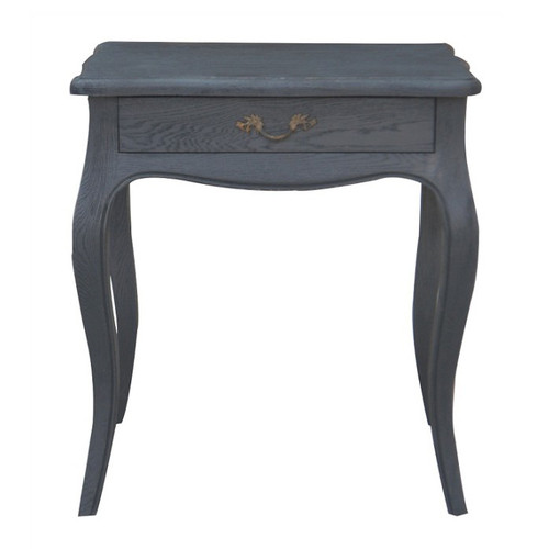 Josephine Bedside Table - Black Oak Drifted