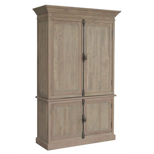 French Panel Double-Door Closed Cabinet - Weathered Oak
