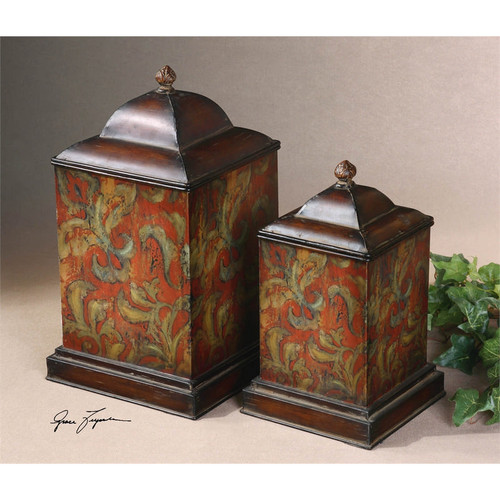 Colorful Flowers Canisters - Set of 2