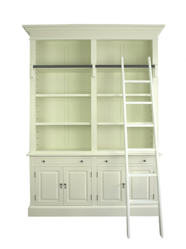 Marseille 4 Door Bookcase + Ladder (A/White)