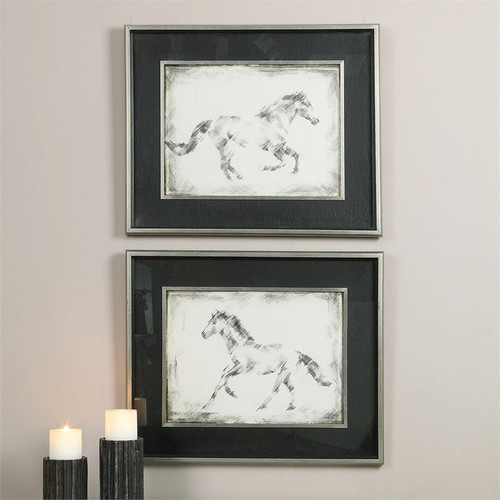 Equine Study Set of 2 a Prints Framed by Uttermost