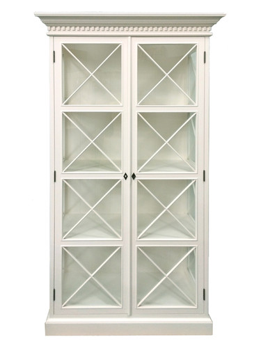 French Cross Display Cabinet - Antique White