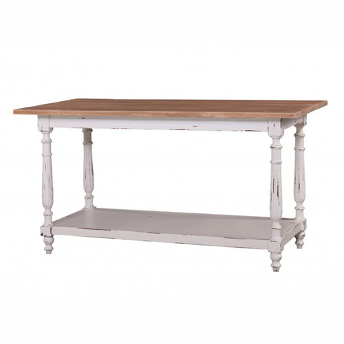 New England Prep Table - White Heavy Distressed /DRW