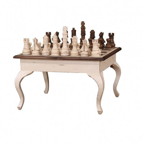 Gentleman's Chess Table w/ Chess Set - Antique Cream Heavy Distressed /ATO