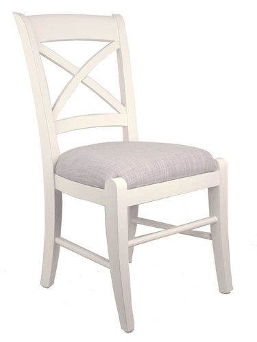 Cross Back Dining Chair - White + Bisque