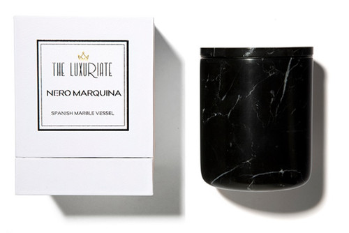 The Luxuriate Nero Marquina Marble Candle Vessel and box