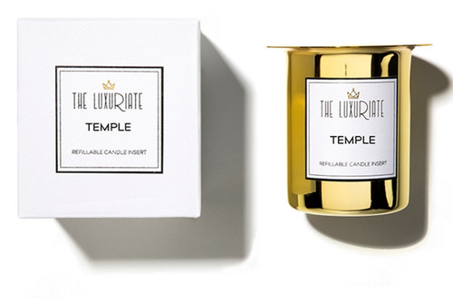 The Luxuriate Temple Candle Refill Insert and box