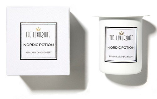 The Luxuriate Nordic Potion Candle Refill Insert and box