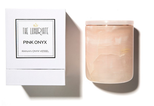 The Luxuriate Pink Onyx Candle Vessel and box