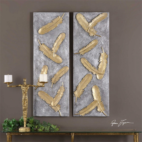 Falling Feathers Set/2 Wall Decor a Alternative Wall Decor by Uttermost