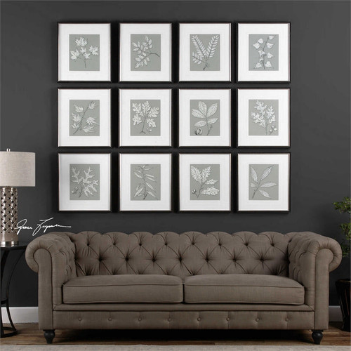 Leaves On Taupe Set/12 - Framed Artwork a Prints Framed by Uttermost