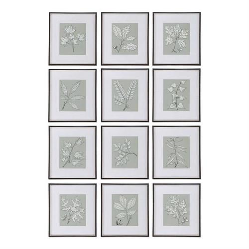 Leaves On Taupe Set/12 - Framed Artwork