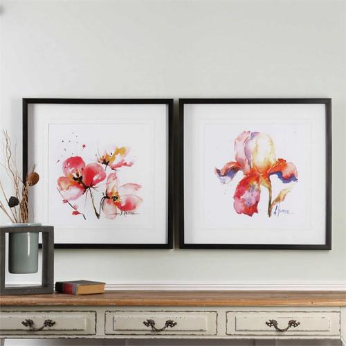 Blooms Hermanas Set/2 - Framed Artwork a Prints Framed by Uttermost