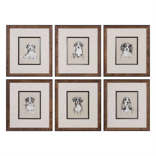 Small Breed Sketches Set/6 - Framed Artwork