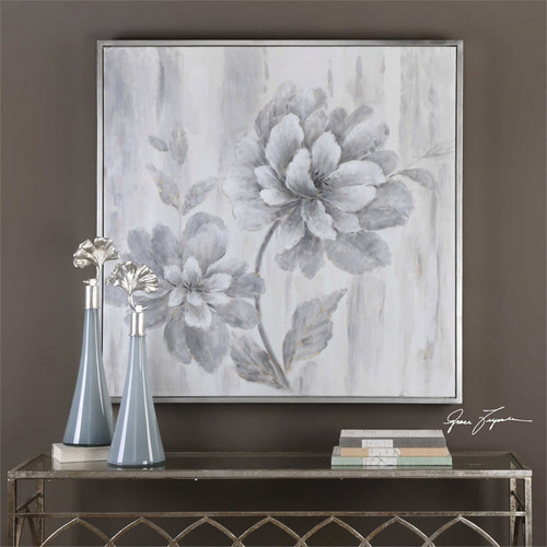 Silver Leaf Floral - Hand Painted Artwork