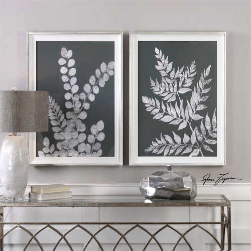 White Ferns Set/2 - Framed Artwork a Prints Framed by Uttermost